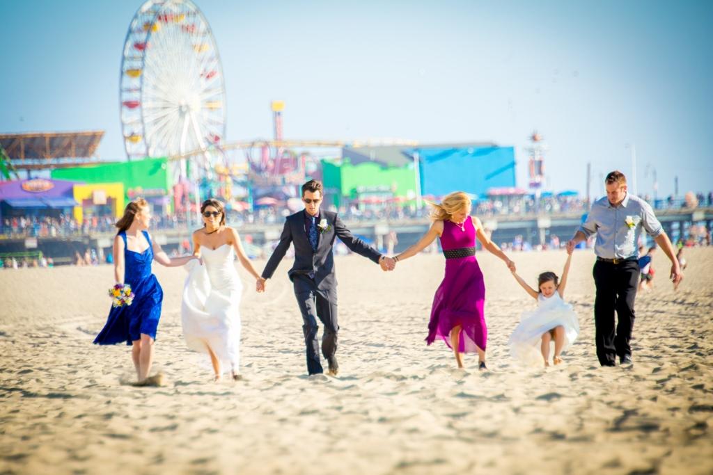 Beach Wedding Photo Gallery Bridal Party At Santa Monica Pier Jpg