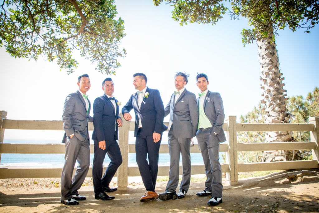 Groomsmen posing on the Bluff in Santa Monica.jpg